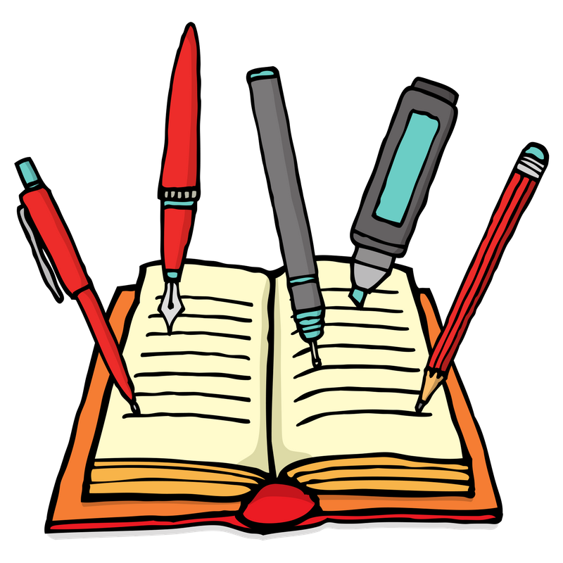Drawing of an open book with lines representing text on the facing pages. 5 writing utensils are standing with their points on the pages. From left to right: a red ballpoint pen, a red calligraphy pen, a gray drawing pen, a blue highlighter, and a red pencil. Source: https://howtowritefanfiction.com/