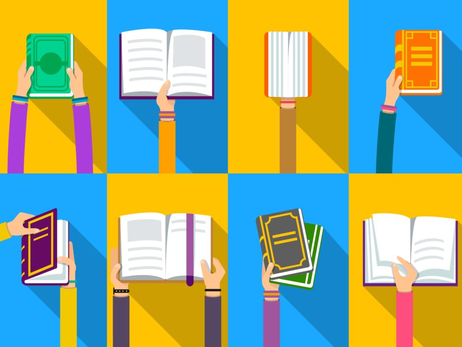 2 by 4 panels with alternating yellow and blue background, each with a hand holding a book. Top row, left to right: against a yellow background, two hands with purple sleeves hold a green-covered book; against a blue background, a hand with an orange sleeve holds an open book, thumb in the center crease of the pages; against a yellow background, a hand with a brown sleeve holds a thick, closed book so the viewer sees the pages rather than the spine; against a blue background, a hand wearing a dark blue sleeve holds a closed orange and gold book. Bottom row, left to right: against a blue background, hands with yellow sleeves is opening the cover of a purple and gold book; against a yellow background, hands with dark purple sleeves are holding open a book with a purple ribbon bookmark; against a blue background, a hand with purple sleeve is holding two stacked books, the top with black and gold cover and the bottom with green and white cover; against a yellow background, a hand with a pink sleeve is turning the page of an open book. Source: https://www.readitforward.com/essay/article/books-people-reread/