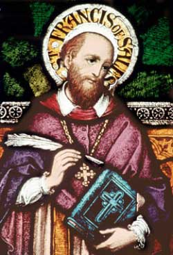 A detailed stained glass portrait of St. Francis of Sales. He is depicted as a white man with a receding hairline and full beard, wearing a purple robe, gold cross pendant, and holding a blue Bible and white feather quill. The golden halo behind his head bears his name. Source: https://www.discerninghearts.com/catholic-podcasts/st-francis-de-sales/