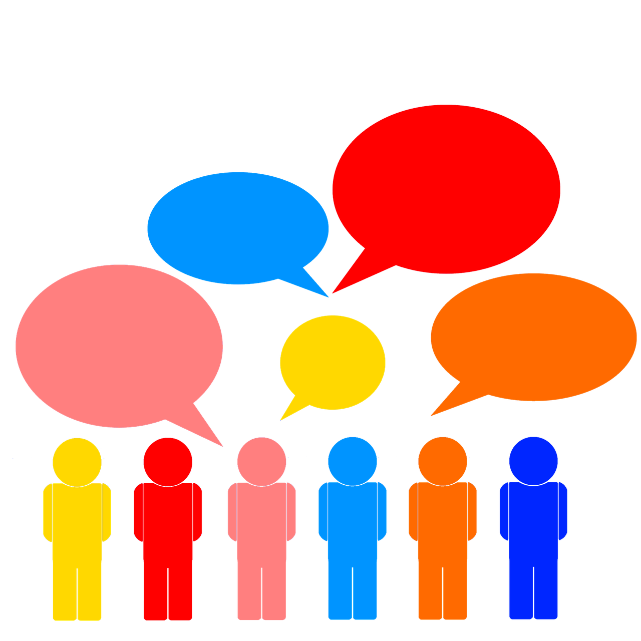 A row of colorful cut-out figures under five floating speech bubbles. From left to right, they are colored: yellow, red, pink, light blue, orange, and dark blue. The bubbles, from left to right, are: pink, light blue, yellow, red, and orange. Source: https://www.bcse.org/lets-talk-talanoa-how-clean-energy-can-power-ambition/