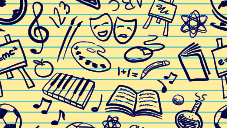 Line drawings on a blue-lined yellow paper background. Various sketches include: a globe; a whiteboard with the equation e = mc squared; a treble clef; an apple; a soccer ball; musical notes; books; depiction an atom; the comedy and tragedy masks; paintbrushes; a computer mouse; a curved pencil writing 1 +1 equals; the numbers 1, 2, 3; and the letters A, B, C. Source: https://www.tes.com/teaching-resources/blog/visual-timetables-all-ages