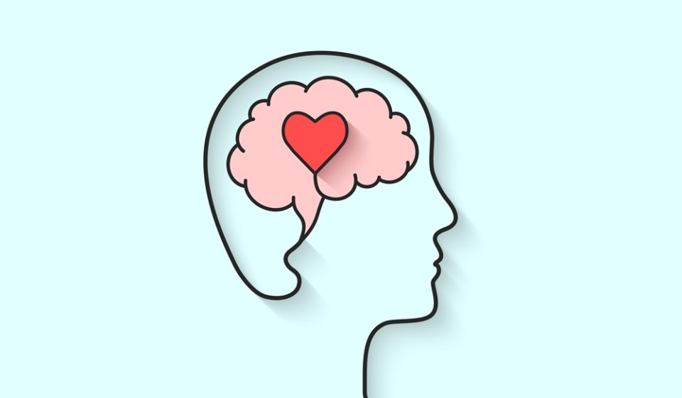 Against a light blue background, a black line outlines a person's head and face in profile. Inside is a pink brain with a red heart centered. Source: https://www.ish.org.uk/mental-health-information-for-students/