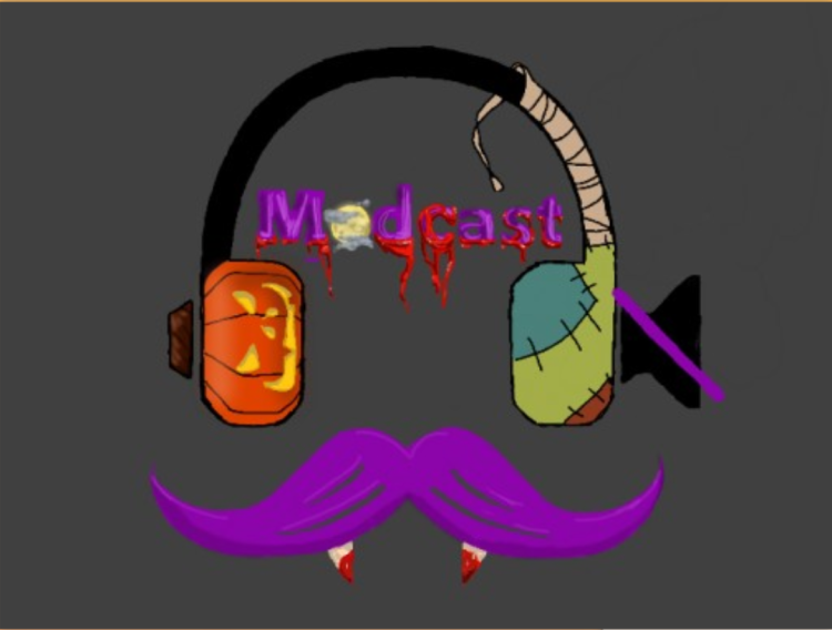 A themed version of Modcast logo. It depicts a black pair of headphones against a dark gray background, the right phone with a muted speaker icon. The left phone is an orange Jack-o-lantern. Mummy paper wraps around the right half of the headband, is stitched onto the Frankenstein's monster skin phone. Between the headphones is the name in purple text, Modcast. The letter O is a full moon, and the rest of the letters are bleeding. Under the headphones is a purple English mustache with vampire fangs dripping blood.