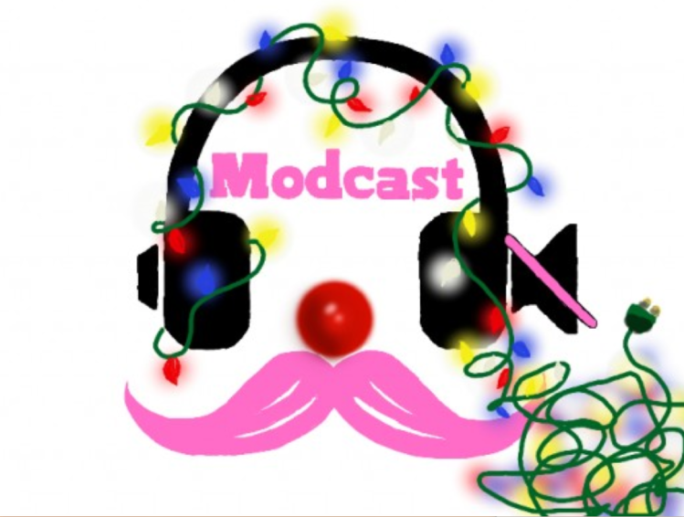 A themed version of Modcast logo. It depicts a black pair of headphones, the right one with a muted speaker icon. Christmas lights wrap around the headphones and lie in a tangle in the lower right corner. The lights are red, blue, yellow, and white. Between the headphones is the name in bright pink text, Modcast. Under the headphones is a bright pink English mustache. Just above the mustache is a bright red Rudolph nose.