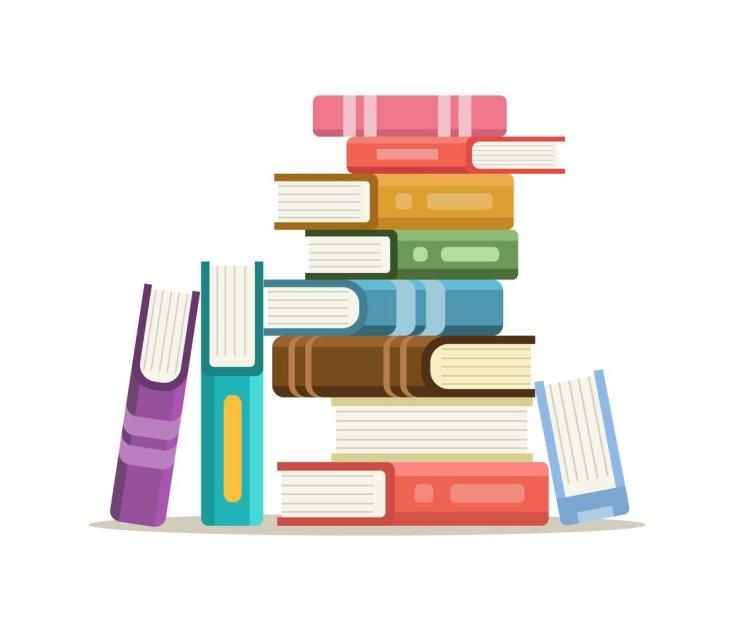 Cartoon stack of multicolored books.