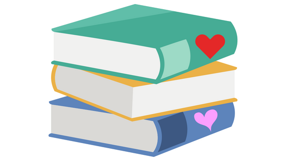 A clipart drawing of three stacked books. Top is green with a red heart on the spine, middle is yellow with spine facing away from viewer, and bottom is blue with a pink heart on the spine.