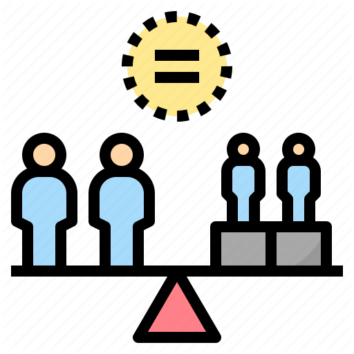 A minimalist pastel-colored illustration depicting 4 figures on a see-saw. Two large persons stand on the left side, and two smaller persons stand on the right. To ensure the seesaw is level, the two on the right stand on boxes. Centered above them is a yellow circle with an equal sign inside.