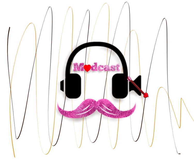 A themed version of Modcast logo. It depicts a glittery pink mustache and glittery pink letters reading Modcast, though the 'o' has been replaced with a red heart. The line forming the mute symbol on the right headphone is a Cupid's arrow. In the background are two drizzles of caramel and mocha.