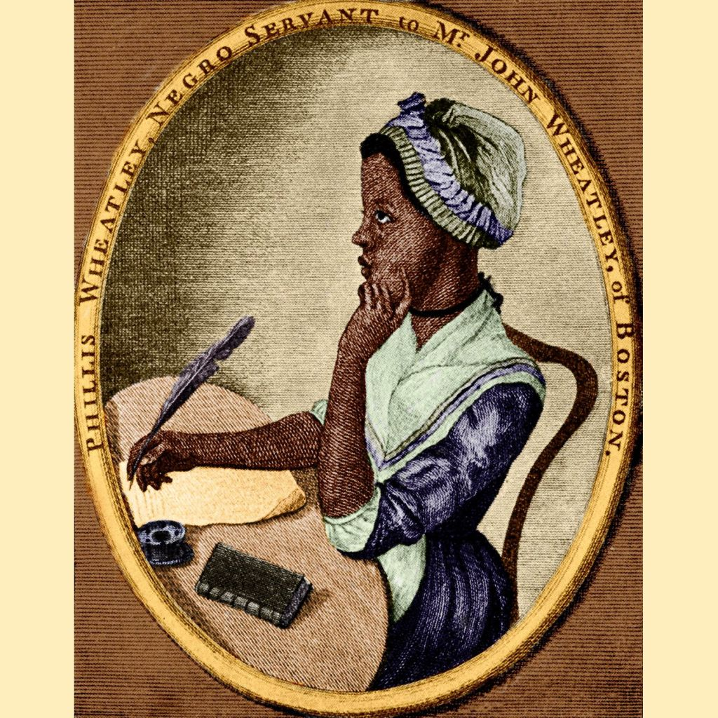 Portrait of Phillis Wheatley, a young Black woman seated at a writing desk. She is wearing a bonnet with blue ribbon and a blue dress, poised with a finger tapping her cheek thoughtfully, and quill in her other hand.