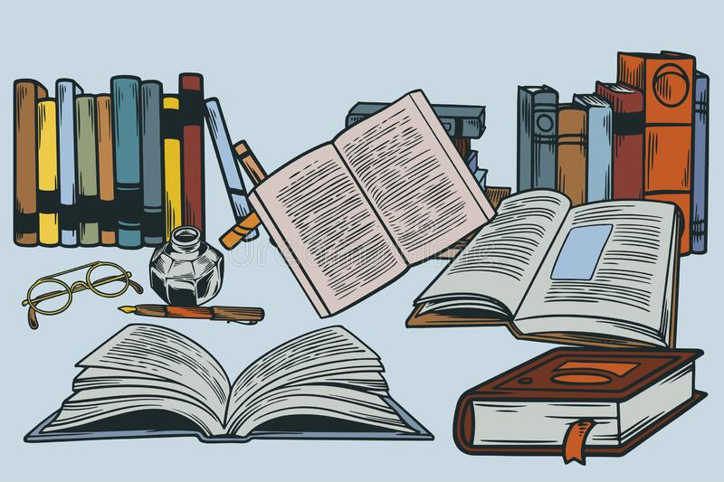 Drawing of books, open and closed and lined up in a row. A glass inkwell, calligraphy pen, old timey spectacles.